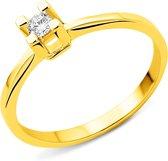 Majestine Solitaire - Ring - 14 Karaat (585) - Geelgoud met Diamant 0.10ct