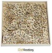 Houten ornamenten - Alfabet groot 250 pcs - box 16,8 x 16,8 cm [ Circa 2 cm letters ]