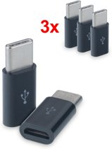 Set van 3 verloop adapter Micro USB-adapter naar USB 3.1 Type-C