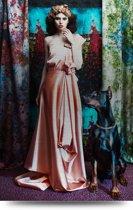 Matahari in Pink dress - Geborsteld aluminium - Extra groot!