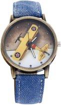 Fako® - Horloge - Vliegtuig - Blauw
