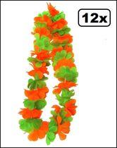 Groen, oranje Hawaii kransen Kruikenstad - Hawaii slingers 12 stuks
