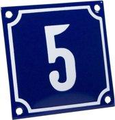 Emaille huisnummer blauw/wit nr. 5 10x10cm