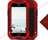 Metalen fullbody hoes voor Apple iPhone 7 en iPhone 8, Love Mei, metalen extreme protection case, zwart-rood