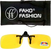 Fako Fashion® - Clip On Voorzet Zonnebril - Polarized - 128x40mm - Geel