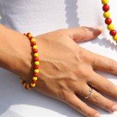 Kralen armband geel en rood