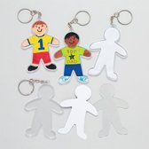 Ontwerp je eigen sleutelhanger - persoon - creatieve speelgoed voor kinderen om te maken en versieren (6 stuks)