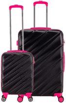 Decent Lumi-Fix - ABS kofferset - 2 delig - zwart/roze