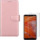 Nokia 3.1 Plus Portemonnee hoesje Rose Goud met 2 stuks Glas Screen protector