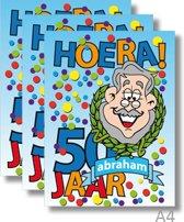 3x Dubbele A4 kaart met envelop - Abraham - Formaat: 235 x 310 mm