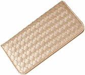 Fashionidea – mooie goudkleurige pasjeshouder portefeuille model van chique gevlochten PU- leer, niet geschikt voor muntgeld.