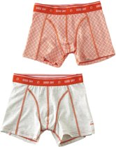 Little Label Jongens boxershorts (2-pack) - off white m & orange red contrast