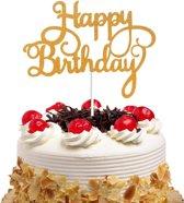 Happy Birthday Taart topper - Taart decoratie verjaardag Goud - Glitters
