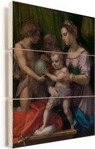 De heilige familie met de jonge heilige Johannes de Doper - Schilderij van Andrea del Sarto Vurenhout met planken 60x80 cm - Foto print op Hout (Wanddecoratie)
