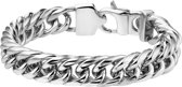The Jewelry Collection heren armband - Gourmet - 11 mm breed - Staal - 19 cm