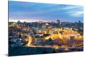 De eeuwenoude stad Jeruzalem bij schemering in Israël Aluminium 120x80 cm - Foto print op Aluminium (metaal wanddecoratie)