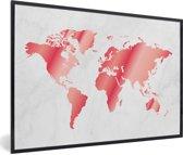Foto in lijst - Roze-getinte wereldkaart met marmeren achtergrond fotolijst zwart 60x40 cm - Poster in lijst (Wanddecoratie woonkamer / slaapkamer)