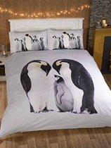 Pinguin 2 persoons dekbedovertrek, Pinguins dekbed 200 x 200 cm.