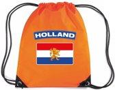 Oranje nylon rijgkoord rugzak/ sporttas Holland vlag