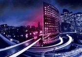 Fotobehang City Skyline Night   L - 152.5cm x 104cm   130g/m2 Vlies