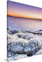 Zonsondergang boven de rotsen in de Dode Zee in het Midden-Oosten Canvas 20x30 cm - klein - Foto print op Canvas schilderij (Wanddecoratie woonkamer / slaapkamer)