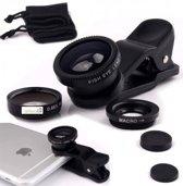 DrPhone - PiX Series HD Clip Lens - 3-in-1 Fish Eye Lens ° / Wide Groothoek Lens / Macro Lens - Inclusief Luxe Verpakking en Soft Pouch -  Zwart Universeel Te gebruiken op elke Tablet/Smartphone