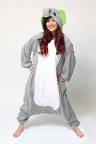 KIMU Onesie olifant pak grijs Dombo kostuum - maat S-M - olifantenpak jumpsuit huispak festival