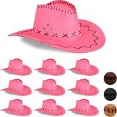 relaxdays 10x Cowboyhoed roze - western hoed - cowgirl hoed - cowboy accessoire - carnaval