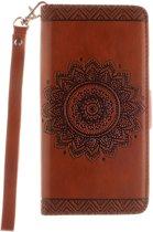 Shop4 - Huawei Ascend P8 Lite Hoesje - Wallet Case Vintage Mandala Bruin