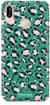 FOONCASE Huawei P20 Lite hoesje TPU Soft Case - Back Cover - WILD COLLECTION / Luipaard / Leopard print / Groen