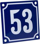 Emaille huisnummer blauw/wit nr. 53 10x10cm