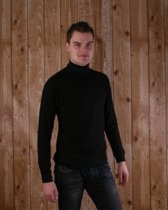 Zwart t-shirt met col en lange mouw heren M