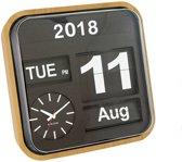 Wall clock Big Flip wood casing, black dial