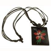 Amulet ketting | Rectangle flower