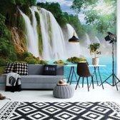 Fotobehang Waterfall Lake | V8 - 368cm x 254cm | 130gr/m2 Vlies