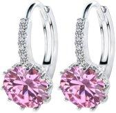 Mooie zilveren oorbellen met roze steen   925 sterling zilver