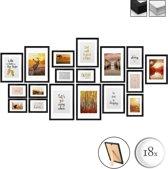 bomoe fotolijst Set van 18 - fotolijsten collage zwart