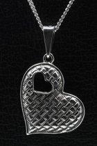 Zilveren Hart in hart ketting hanger - 2
