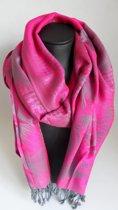 Mooie hippe sjaal van pashmina in de kleuren roze grijs breedte 70cm lengte 180cm.