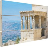 Close-up van de Akropolis Hout 120x80 cm - Foto print op Hout (Wanddecoratie)