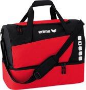 Erima Club 5 Line Sporttas met Bodemvak Small - Rood/Zwart