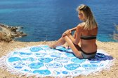 Mycha Ibiza – roundie – rond strandlaken – happy – blauw – 100% katoen – franje