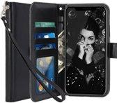 iPhone 7 Plus / 8 Plus - Lederen TPU Wallet Case Zwart - Portemonee Hoesje - Book Case - Flip Cover - Klap - 360 beschermend Telefoonhoesje
