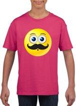 Smiley/ emoticon t-shirt snor roze kinderen M (134-140)