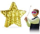 relaxdays Pinata ster - goud - zelf vullen - piñata - kerst pinata - verjaardag