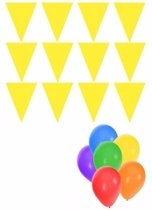 Pakket 3x vlaggenlijn XL geel incl gratis ballonnen