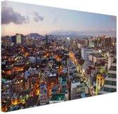 Luchtfoto Gangnam district Seoul Canvas 180x120 cm - Foto print op Canvas schilderij (Wanddecoratie woonkamer / slaapkamer) / Steden Canvas Schilderijen XXL / Groot formaat!