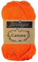 Scheepjes Catona Royal Orange (189) PAK MET 10 BOLLEN a 50 GRAM. INCL. Gratis Digitale vinger haak en brei toerenteller.