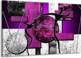 Canvas schilderij Abstract | Paars, Zwart, Wit | 140x90cm 1Luik