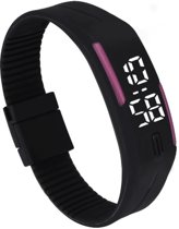 LED Horloge - Tieners - Horloge - Rubber - 20 mm – Zwart/ Roze – I-deLuxe verpakking